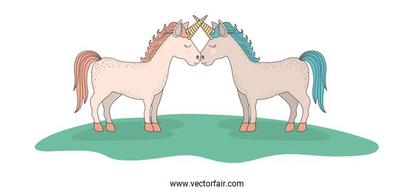 cute unicorns in the grass characters