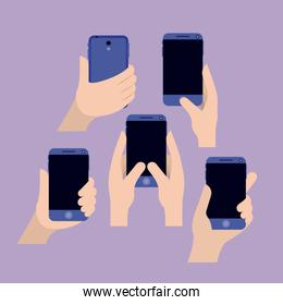 group of hands using smartphone