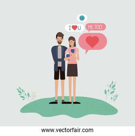 couple chating with smartphone