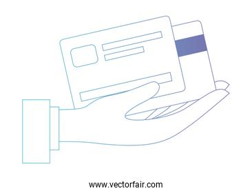 hand with credit cards
