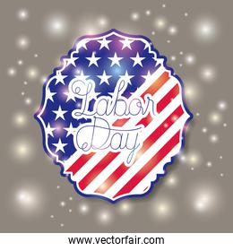 happy labor day with usa flag frame