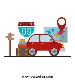 car with travel set icons