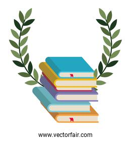 pile text books with wreath crown