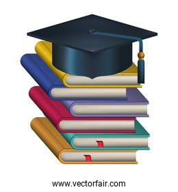 hat graduation with pile books