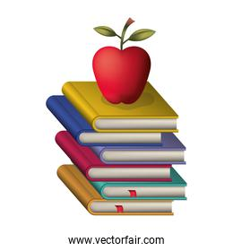 pile text books with apple