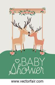 baby shower card with cute reindeer couple