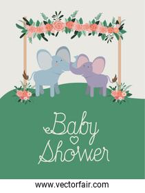 baby shower card with cute elephants couple