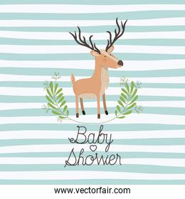 baby shower card with cute reindeer