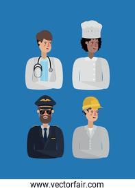 group of workers avatars characters