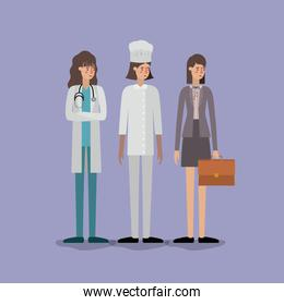 group of women workers avatars characters