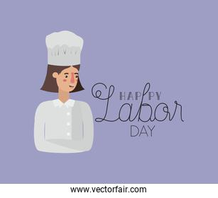happy labor day card with woman chef