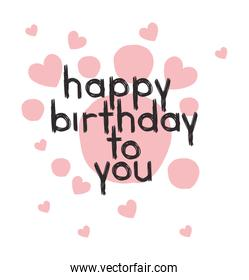 happy birthday message with hand made font