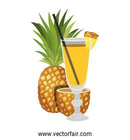 pineapple fresh fruit with cocktail glass