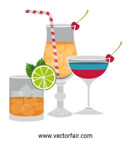set cups cocktails icons