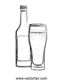 glass with beverage and bottle