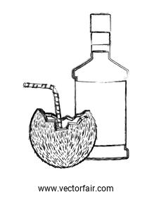 coconut cocktail with bottle