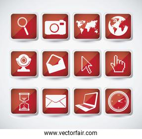 computers and networks icons set