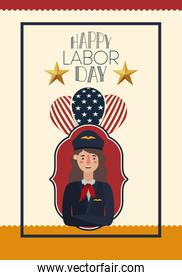 happy labor day card with woman pilot and balloons