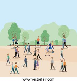 group of people walking and running on the park characters