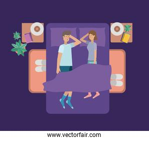 young couple relaxing on the bedroom