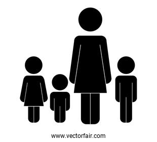mother with kids figure silhouette