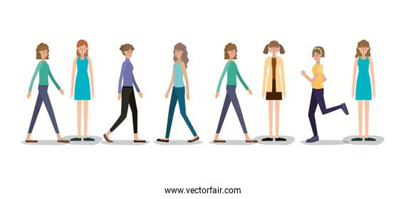 group of women walking and running characters