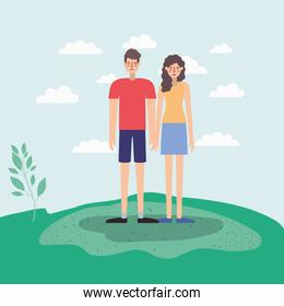 young couple walking on the park airview scene