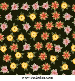 leafs and flowers pattern background