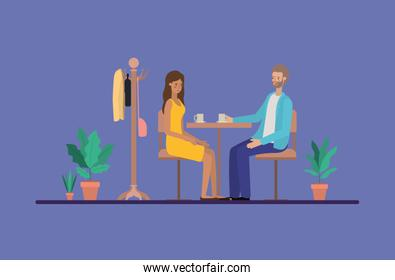 young couple drinking coffee on the dinning room