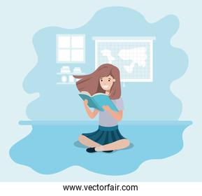 young student girl sitting reading book