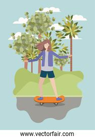 young woman in skateboard on the park