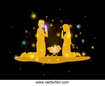 merry christmas card with holy family silhouette
