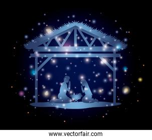 merry christmas card with holy family in stable