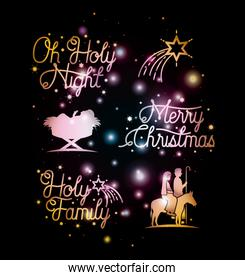 merry christmas card with set icons