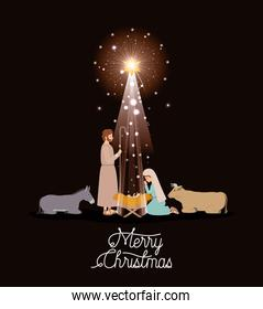 christmas card with holy family and animals