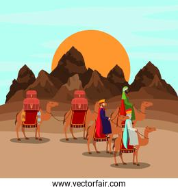 wise men traveling in the desert christmas scene