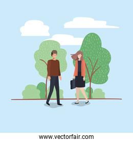 young couple walking on the park character