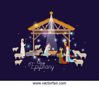 holy family in stable with wise kings manger
