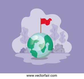 planet earth with flag