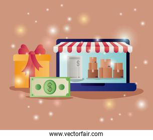 laptop with parasol and ecommerce icons