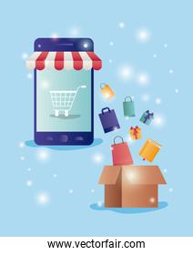 smartphone with parasol ecommerce icons