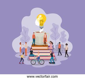 group of people with light bulb and books