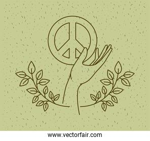 hands with world peace symbol