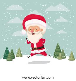 little santa claus character in snowscape