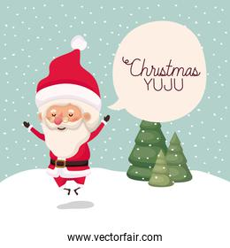 santa claus in snowscape with speech bubble