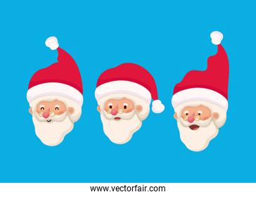 group of little santa claus heads characters