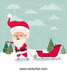 santa claus with carriage in snowscape