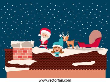 santa claus and girl helper in the chimney