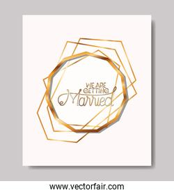 married invitation with golden frame