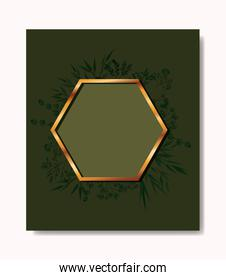hexagon golden frame and leafs wreath